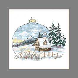 ZU 10343 Stickpackung - Karte - Weihnachtskugel mit Landschaft