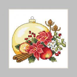 ZU 10344 Stickpackung - Karte - Weihnachtskugel mit Weihnachtskomposition