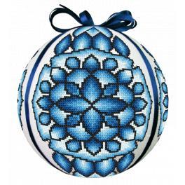 ZU 10685 Stickpackung - Blaue Weihnachtskugel