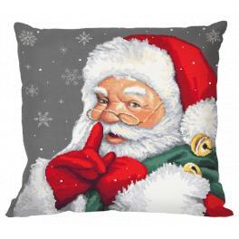 GU 10477-01 Gedruckte Kreuzstichvorlage - Kissen - Verschmitzter Weihnachtsmann
