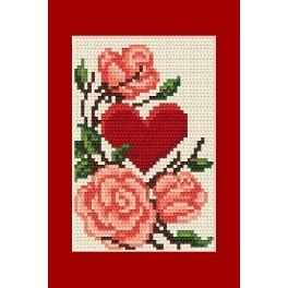 Gelegenheitskarte - Das Herz mit Rosen - Zählmuster