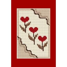 Gelegenheitskarte - Die Herzchen - Zählmuster