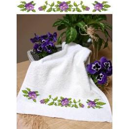 Handtuch mit Stiefmütterchen - Zählmuster
