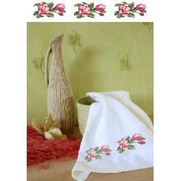 Handtuch mit Magnolien - Zählmuster