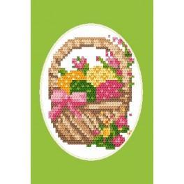 Osterkarte- Ein Korb mit Ostereiern - Zählmuster