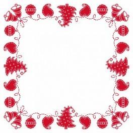 Eine Serviette - Weihnachtsheftnaht - Zählmuster