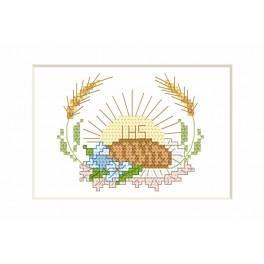 Kommunion-Karte - Hostie und Brot - Zählmuster