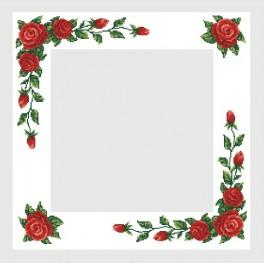 B.Sikora - Tischdecke mit roten Rosen - Zählmuster