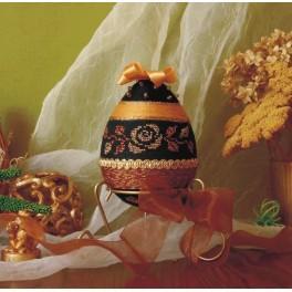 Dekorationsei mit goldener Rose - B. Sikora - Zählmuster