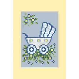 Geburtskarten - Blauer Kinderwagen - Zählmuster