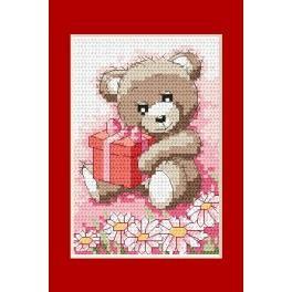 Geburtstagskarte- Bärchen mit Geschenk - Zählmuster