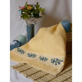 Handtuch mit blauen Blumen - Zählmuster