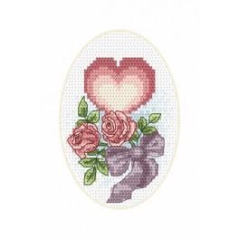 Karte zur Hochzeit – Herzlein - Zählmuster