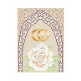 Hochzeitskarte – Goldene Eheringe - Zählmuster