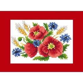 Gelegenheitskarte - Mohnblumen mit Kornblumen - Zählmuster