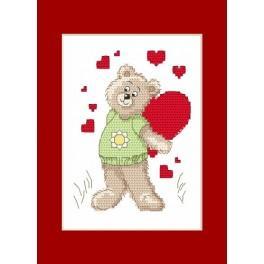Valentinstagskarten - Der kleine Bär mit einem Herzen - Zählmuster