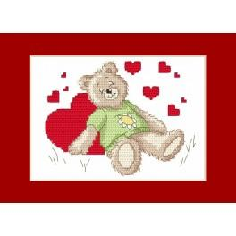 Valentinstagskarten - Das schlafende Bärchen - Zählmuster