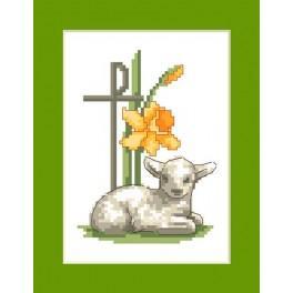 Osterkarte - Osterlamm - Zählmuster