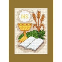 Kommunion-Karte - Bibel und Ähren - Zählmuster