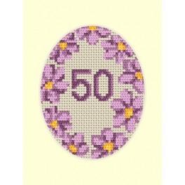 Geburtstagskarte - Violette Blumen - Zählmuster
