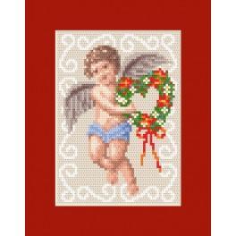 Weihnachtskarte - Karte mit einem Engelchen - Zählmuster