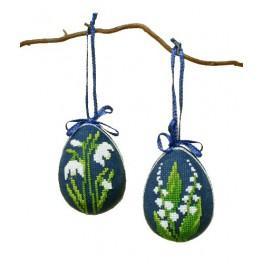 Osterneier - Weiße Blumen - Zählmuster