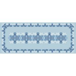 Blauer Tischläufer - Zählmuster