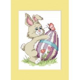 Osterkarte – Hase mit Osterei - Zählmuster