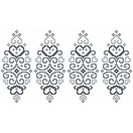 Wzór graficzny użytkowy - Pisanka – szara arabeska - Haft krzyżykowy