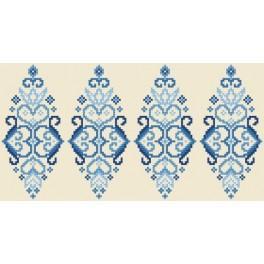 Zählmuster - Osterei - Blaue Arabeske