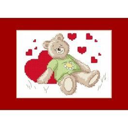 Zahlmuster online - Valentinstagskarten - Das schlafende Bärchen