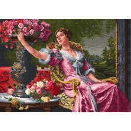 Zahlmuster online - Die Dame im lila Kleid