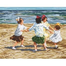 Zahlmuster online - Spielende Kinder am Strand