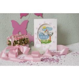 W 8207 Zahlmuster online - Geburtstagskarte - Storch