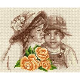 Zahlmuster online - Kinder mit den Blumen