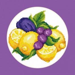 W 8258 Zahlmuster online - Zitronen mit Pflaumen