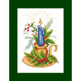 Zahlmuster online - Weihnachtskarte - Karte mit Kerze