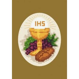 W 8419 Zahlmuster online - Kommunion-Karte - Brot und Weintrauben