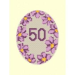Zahlmuster online - Geburtstagskarte - Violette Blumen