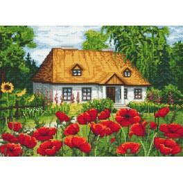 Zahlmuster online - Gutshaus mit Mohnblumen