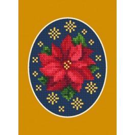 Zahlmuster online - Weihnachtskarte - Poinsettie mit Sternchen