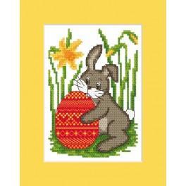 W 8458 stickvorlage ONLINE pdf - Osternkarte - Hase mit Osterei