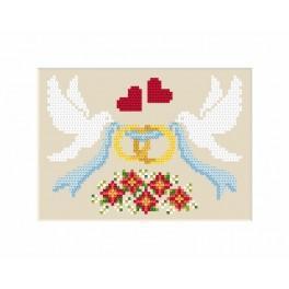 Zahlmuster online - Hochzeitskarte – Tauben mit Eheringen
