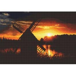 Zahlmuster online - Sonnenuntergang mit Windmühle