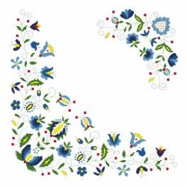 Zahlmuster online - Serviette mit Blumenmotiv