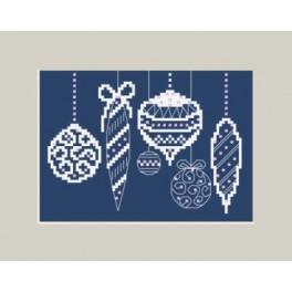 Zahlmuster online - Weihnachtskarte mit Christbaumkugel