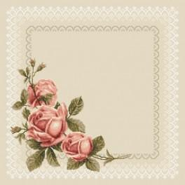Zahlmuster online - Serviette mit Rosen