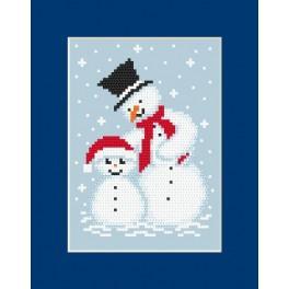 Zahlmuster online - Karte – zwei Schneemänner