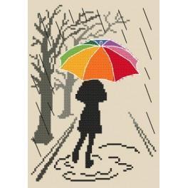Zahlmuster online - Bunter Regenschirm - Spaziergang