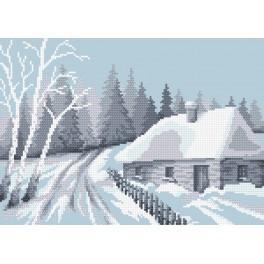 Zahlmuster online - Schneebedeckte Hütte